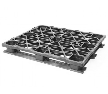 SKIDS-336 - Top view of plastic pallet in industrial size with snap-on cruciform perimeter-base